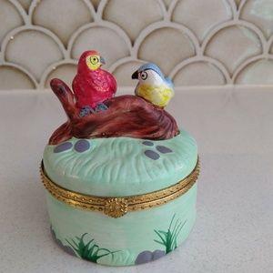 Vintage Ceramic Parrot Trinket Box
